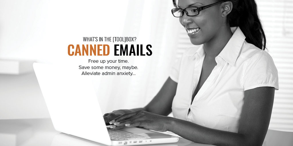 image of lady in glasses at laptop, canned email template